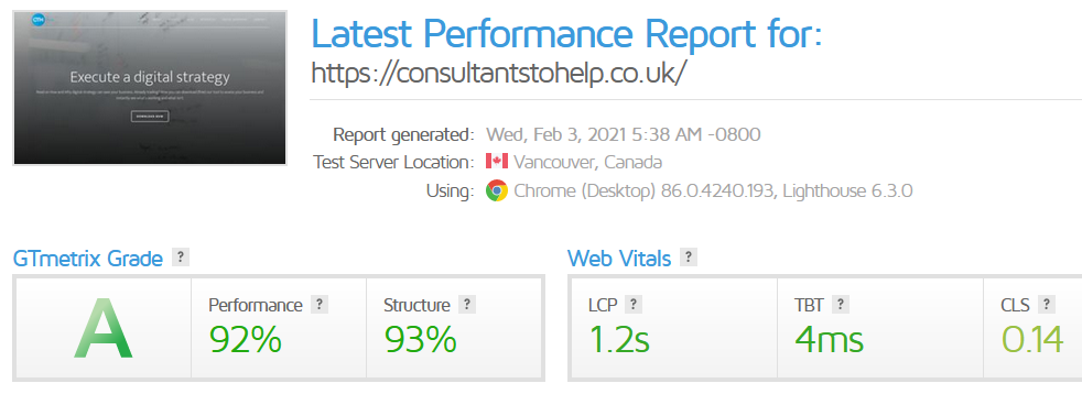 Cth page speed performance