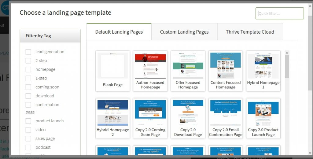 Thrive landing pages templates