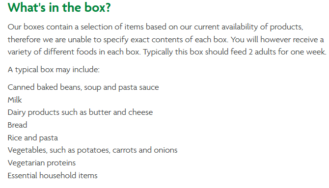Typical Morrisons Items Box